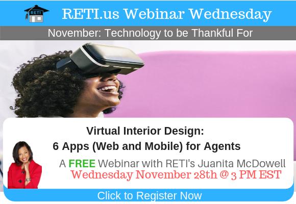 —- RETI's FREE Webinar Wednesdays  —- November 21st / This Week's Topic —-  No Webinar Happy Thanksgiving, Next Webinar 11/28