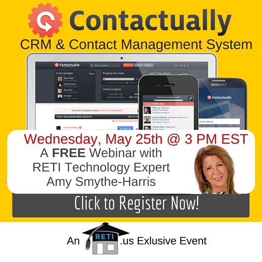 Contactually CRM System Overview with RETI's Amy Smythe-Harris – 5/25 @ 3 PM EST