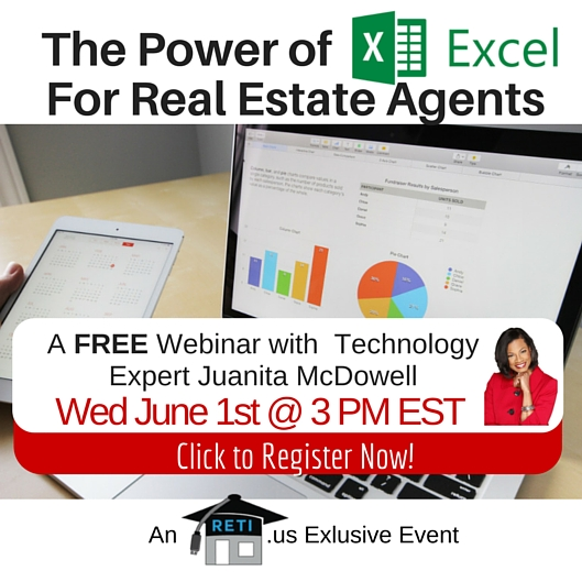 The Power of Excel for Real Estate Agents with RETI's Juanita McDowell – 6/1 @ 3 PM EST