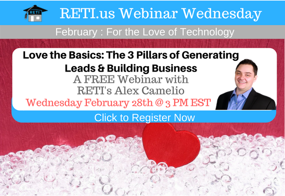 —- RETI's FREE Webinar Wednesdays  —- February 28th / This Week's Topic —-  3 Pillars of Building Real Estate Business w Alex Camelio