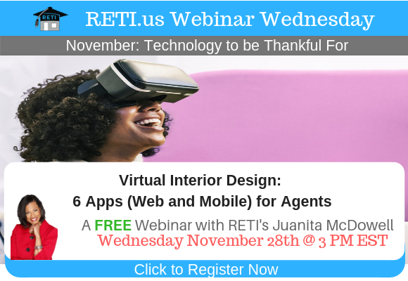 —- RETI's FREE Webinar Wednesdays  —- November 21st / This Week's Topic —-  No Webinar Happy Thanksgiving, Next Webinar 11/28